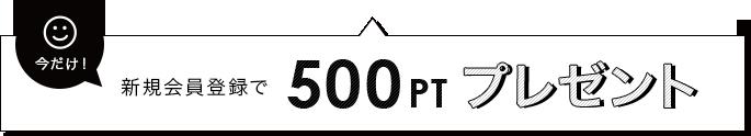 新規会員登録で500PT プレゼント